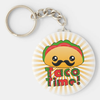 Taco Time Basic Round Button Key Ring