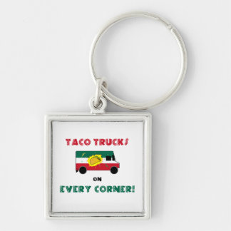 Taco Trucks On Every Corner Silver-Colored Square Key Ring