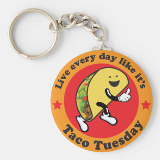 Taco Tuesday Every Day Basic Round Button Key Ring