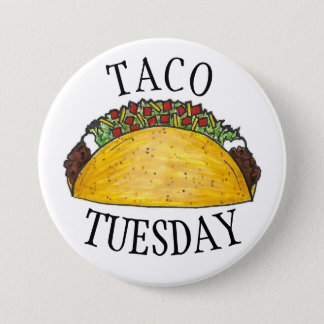 TACO TUESDAY Mexican Tex Mex Food Tacos Foodie 7.5 Cm Round Badge