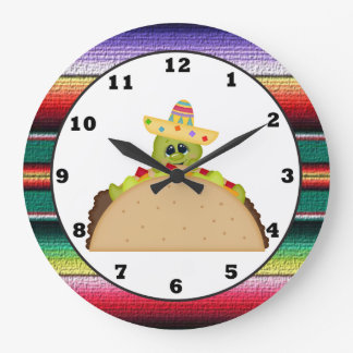 Taco Turtle cartoon Southwestern wall clock
