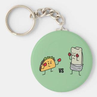 Taco vs Burrito Basic Round Button Key Ring