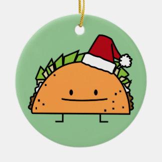 Taco wearing Santa Hat Christmas shell meat salsa Ceramic Ornament
