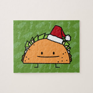 Taco wearing Santa Hat Christmas shell meat salsa Jigsaw Puzzle