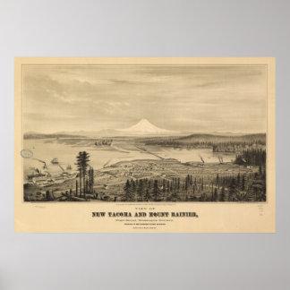 Tacoma & Mount Rainier, 1878 Print