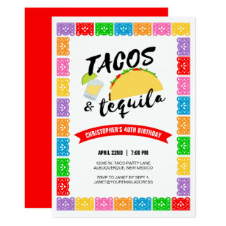 Tacos and Tequila Birthday Party Card