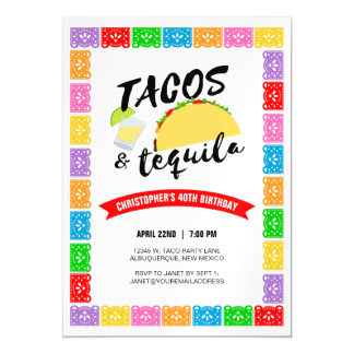 Tacos and Tequila Birthday Party Magnetic Card