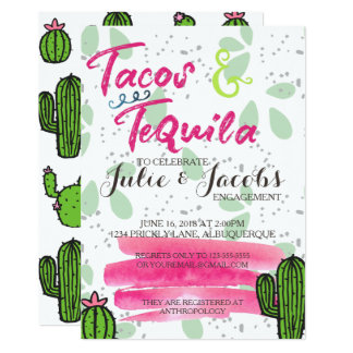 Tacos and Tequila Engagement Party Card
