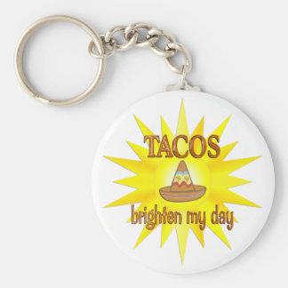 Tacos Brighten Basic Round Button Key Ring