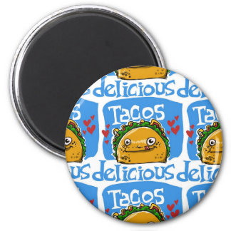 tacos delicious cartoon style illustration 6 cm round magnet