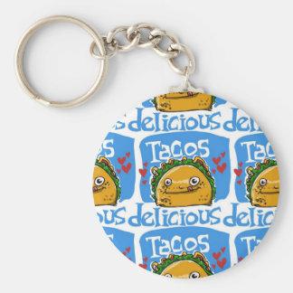 tacos delicious cartoon style illustration key ring