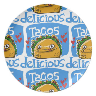 tacos delicious cartoon style illustration plate