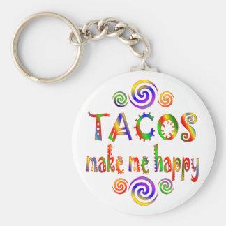 Tacos Make Me Happy Basic Round Button Key Ring