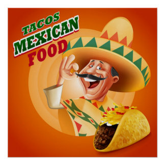 Tacos Mexican Food Poster