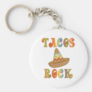 Tacos Rock Basic Round Button Key Ring