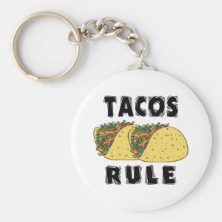 Tacos Rule Basic Round Button Key Ring