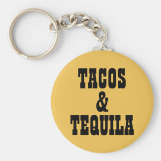Tacos & Tequila Basic Round Button Key Ring