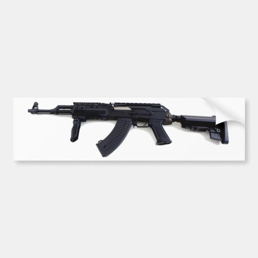 Tactical AK47 Assault Rifle Left Profile Bumper Sticker