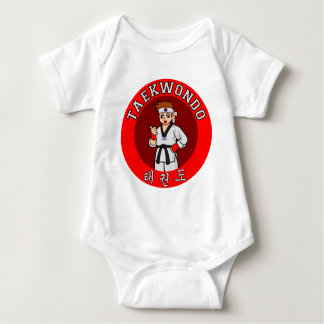 taekwondo guy badge 1 baby bodysuit