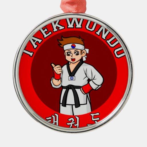 taekwondo guy badge 1 christmas tree ornaments
