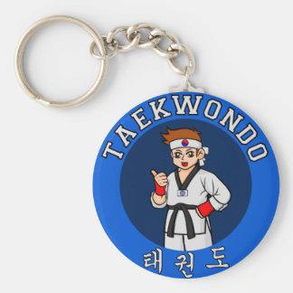 taekwondo guy badge basic round button key ring