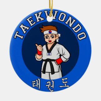taekwondo guy badge christmas tree ornament