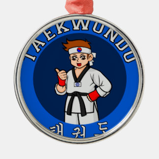 taekwondo guy badge metal ornament