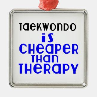 Taekwondo Is Cheaper  Than Therapy Silver-Colored Square Decoration