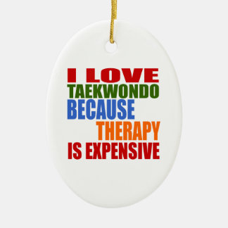 Taekwondo Is My Therapy Ceramic Oval Decoration