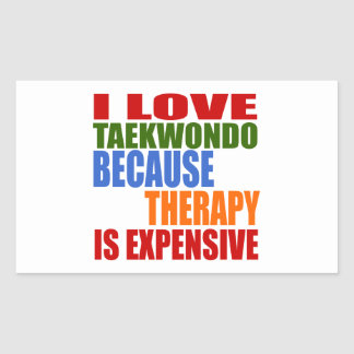 Taekwondo Is My Therapy Rectangular Sticker