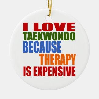 Taekwondo Is My Therapy Round Ceramic Decoration