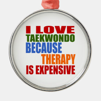 Taekwondo Is My Therapy Silver-Colored Round Decoration