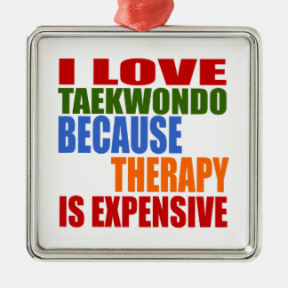 Taekwondo Is My Therapy Silver-Colored Square Decoration