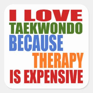Taekwondo Is My Therapy Square Sticker