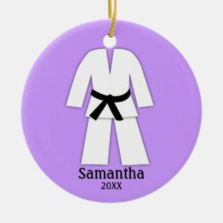 Taekwondo Karate Black Belt Purple Personalized Round Ceramic Decoration