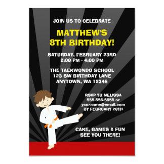 Taekwondo Karate Orange Belt Birthday Invitations