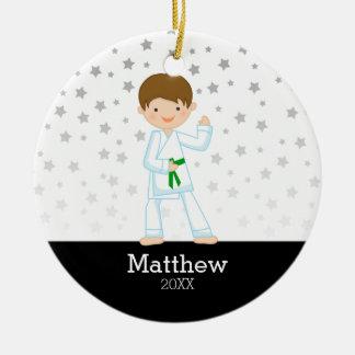 Taekwondo Karate Star Green Belt Boy Personalized Round Ceramic Decoration