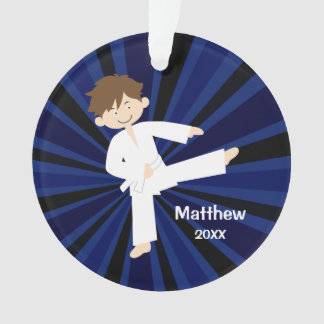 Taekwondo Karate White Belt Boy Personalized Ornament