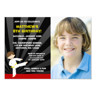 Taekwondo Karate Yellow Belt Birthday Invitations