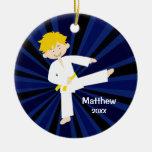 Taekwondo Karate Yellow Belt Boy Personalised Round Ceramic Decoration