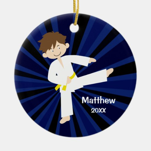 Taekwondo Karate Yellow Belt Boy Personalized Christmas Tree Ornament