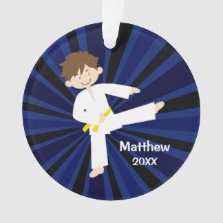Taekwondo Karate Yellow Belt Boy Personalized Ornament