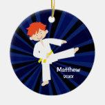 Taekwondo Karate Yellow Belt Red Boy Personalised Round Ceramic Decoration