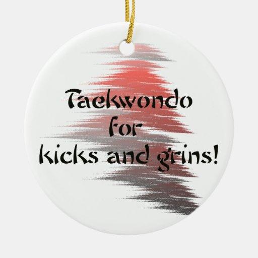 Taekwondo Kick and Grins Round Ornament