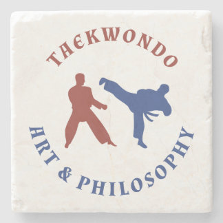 Taekwondo Red and Blue Stamp Stone Coaster