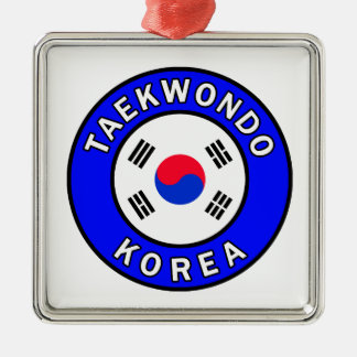 Taekwondo Silver-Colored Square Decoration