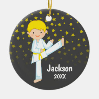 Taekwondo Yellow Belt Blonde Boy Personalized Ceramic Ornament
