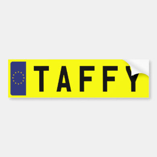 TAFFY Number Plate Bumper Sticker