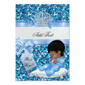 "tag Baby Shower Boy Blue Little Prince Bunnies 3.5"" X 5"" Invitation Card"