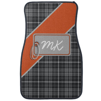 Tag on Tartan; Grey/Orange Floor Mat